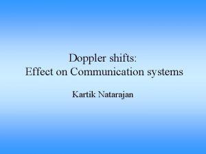 Doppler shifts Effect on Communication systems Kartik Natarajan