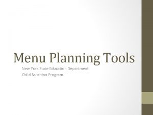 Menu Planning Tools New York State Education Department