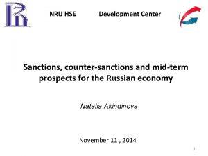 NRU HSE Development Center Sanctions countersanctions and midterm