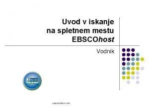 Uvod v iskanje na spletnem mestu EBSCOhost Vodnik