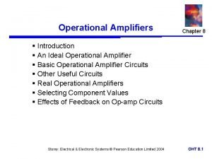 Operational Amplifiers Chapter 8 Introduction An Ideal Operational