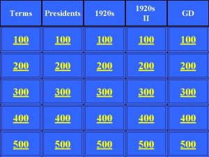 Terms Presidents 1920 s II 100 100 100