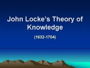 John Lockes Theory of Knowledge 1632 1704 1