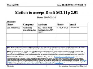 March 2007 doc IEEE 802 11 070384 r