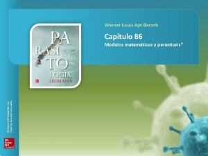PARASITOLOGA HUMANA Captulo 86 Modelos matemticos y parasitosis