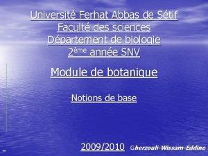 Universit Ferhat Abbas de Stif Facult des sciences