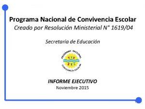 Programa Nacional de Convivencia Escolar Creado por Resolucin