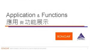 Application Functions 2015 BOMGAR CORPORATION ALL RIGHTS RESERVED