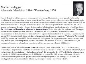 Martin Heidegger Alemania Messkirch 1889 Wrttemberg 1976 Nacido
