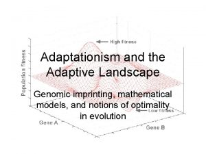 Adaptationism and the Adaptive Landscape Genomic imprinting mathematical