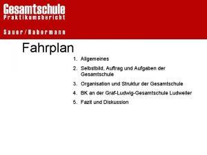 Fahrplan 1 Allgemeines 2 Selbstbild Auftrag und Aufgaben