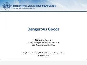 Dangerous Goods Katherine Rooney Chief Dangerous Goods Section