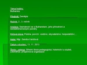 Tma hodiny Bulharsko Pedmt Zempis Ronk 2 3