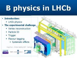 B physics in LHCb Introduction LHCb physics The
