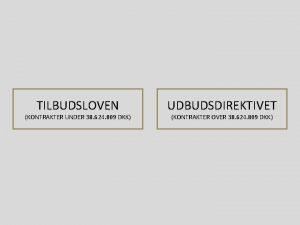 TILBUDSLOVEN KONTRAKTER UNDER 38 624 809 DKK UDBUDSDIREKTIVET