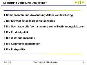 Gliederung Vorlesung Marketing 1 Komponenten und Anwendungsfelder von
