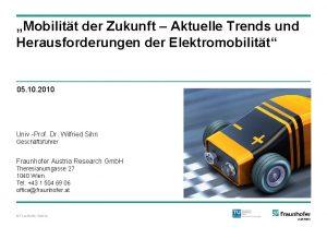 Mobilitt der Zukunft Aktuelle Trends und Herausforderungen der
