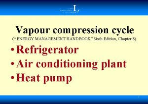 Vapour compression cycle ENERGY MANAGEMENT HANDBOOK Sixth Edition