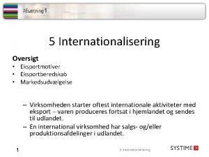5 Internationalisering Oversigt Eksportmotiver Eksportberedskab Markedsudvlgelse Virksomheden starter