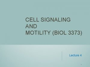 CELL SIGNALING AND MOTILITY BIOL 3373 Lecture 4