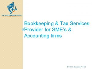 Bookkeeping Tax Services Provider for SMEs Accounting firms