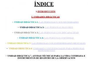 NDICE 1 INTRODUCCIN 2 UNIDADES DIDCTICAS UNIDAD DIDCTICA