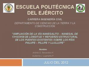 ESCUELA POLITCNICA DEL EJRCITO CARRERA INGENIERA CIVIL DEPARTAMENTO