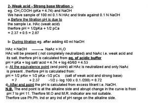 2 Weak acid Strong base titration eg CH