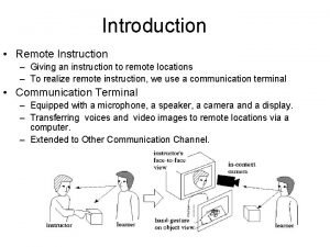 Introduction Remote Instruction Giving an instruction to remote