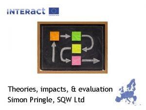 Theories impacts evaluation Simon Pringle SQW Ltd Objectives