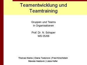 Teamentwicklung und Teamtraining Gruppen und Teams in Organisationen