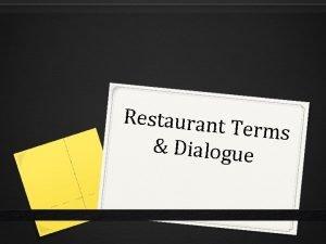 Restaurant Terms Dialogue Restaurant Terms 1 Fork 2