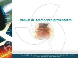 Manual de acceso web proveedores Francisco Berra 451