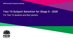 NSW Education Standards Authority Year 10 Subject Selection