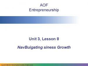 AOF Entrepreneurship Unit 3 Lesson 8 Nav Buigating