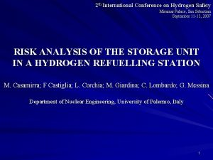 2 th International Conference on Hydrogen Safety Miramar