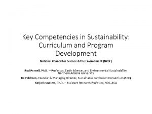 Key Competencies in Sustainability Curriculum and Program Development
