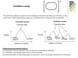 Pericikline reakcije Koncertovane reakcije u kojima se veze