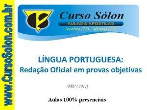 Londrina PR Maring PR LNGUA PORTUGUESA Redao Oficial