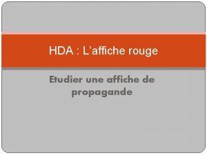 HDA Laffiche rouge Etudier une affiche de propagande
