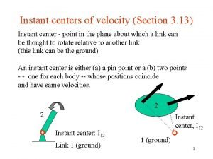Instant centers of velocity Section 3 13 Instant