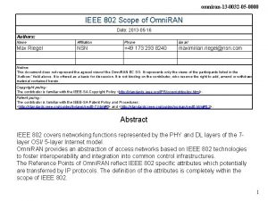 omniran13 0032 05 0000 IEEE 802 Scope of