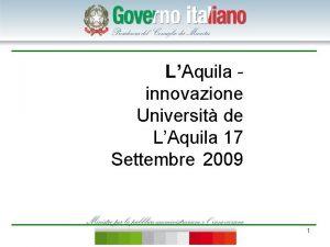 LAquila innovazione Universit de LAquila 17 Settembre 2009