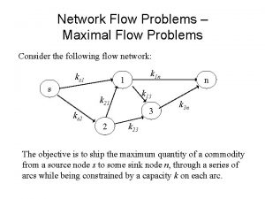 Network Flow Problems Maximal Flow Problems Consider the