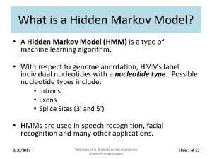 What is a Hidden Markov Model A Hidden