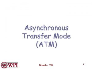 Asynchronous Transfer Mode ATM Networks ATM 1 Issues