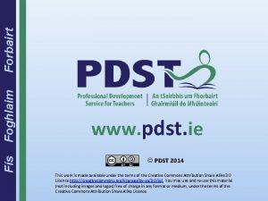 Fs Foghlaim Forbairt www pdst ie PDST 2014