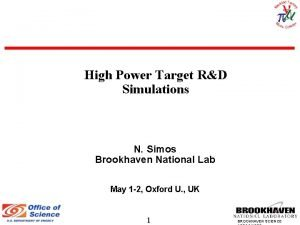 High Power Target RD Simulations N Simos Brookhaven