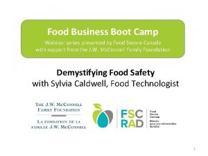 Food Business Boot Camp Webinar series presented by