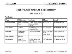 January 2013 doc IEEE 802 11 130133 r